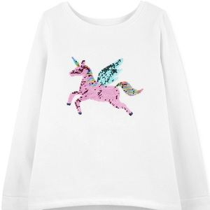 Carter's Girls Sequin Unicorn Fleece Shirt